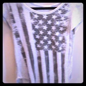 Grey and black USA flag shirt